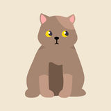 Animale adorabile lanuginoso del fumetto dello shorthair della razza del gatto del ritratto sveglio britannico dell'animale domes illustrazione vettoriale