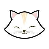 animale chiuso degli occhi del gattino bianco del gatto sveglio immagini stock