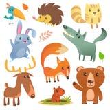 Animale della foresta del fumetto Illustrazione piana di vettore degli animali svegli selvaggi del fumetto royalty illustrazione gratis
