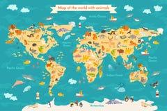 Animale della mappa per il bambino Fotografie Stock Libere da Diritti