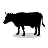 Animale della siluetta del nero del mammifero dell'azienda agricola della mucca Fotografia Stock