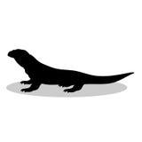 Animale della siluetta del nero del rettile della lucertola di Varan Immagini Stock Libere da Diritti