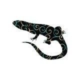 Animale della siluetta di colore del rettile della lucertola Fotografie Stock