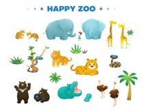 Animale di varietà nel fumetto felice dello zoo Fotografie Stock
