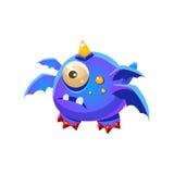 Animale domestico amichevole fantastico blu Dragon With Four Wings And una raccolta immaginaria del mostro di fantasia dell'occhi Fotografia Stock Libera da Diritti