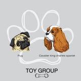 Animale domestico del gruppo pack1 del giocattolo del cane del fronte illustrazione vettoriale