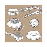 Animale domestico, gatto, accessori del cane - ciotola, collare, guinzaglio, palla di gomma, spazzola per i capelli Immagine Stock Libera da Diritti