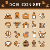 Animale domestico: Insieme dell'icona del cane Fotografie Stock Libere da Diritti