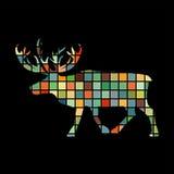 Animale nordico della siluetta di colore dei cervi Fotografia Stock