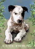 Animale sveglio dell'amico del cucciolo sveglio del cucciolo, mondo animale, animale domestico, illustrazione, paiting, disegno immagine stock