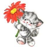 animale sveglio e cuore di rosso del biglietto di S. Valentino watercolor royalty illustrazione gratis