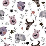 Animales africanos de la historieta ilustración del vector
