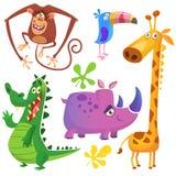 Animales africanos de la historieta divertida fijados Vector los ejemplos del cocodrilo del cocodrilo, de la jirafa, del chimpanc stock de ilustración