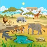 Animales africanos en la naturaleza. stock de ilustración