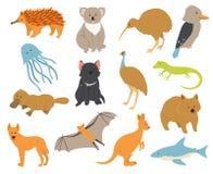 Animales australianos fijados Fotografía de archivo