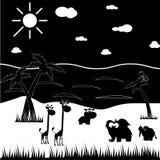 Animales blancos y negros de la historieta ilustración del vector