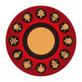 Animales chinos redondos del calendario Ratón del toro del buey del tigre del perro de mono del caballo del conejo del gallo del  stock de ilustración