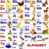 Animales colocados en la carta del alfabeto Fotografía de archivo