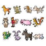 12 animales de calendario chino Estilo de la historieta stock de ilustración