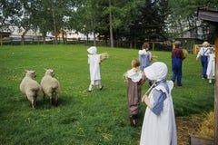 animales de la alimentación de los niños Imagen de archivo