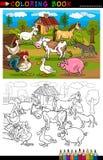 Animales de la granja y del ganado de la historieta para colorear Foto de archivo libre de regalías