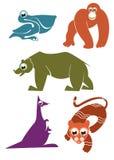 Animales de la historieta Imágenes de archivo libres de regalías