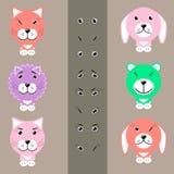 Animales de la historieta con diversas expresiones faciales Fotografía de archivo libre de regalías