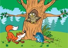 Animales de la historieta del bosque Foto de archivo libre de regalías