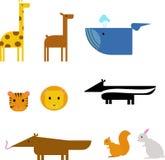 Animales de la historieta ejemplo plano del vector de la fauna determinada del parque zoológico Foto de archivo