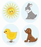 Animales de la historieta fijados Foto de archivo libre de regalías