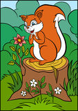 Animales de la historieta para los niños Pequeña ardilla linda Foto de archivo