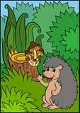 Animales de la historieta para los niños Pequeño erizo lindo Fotografía de archivo