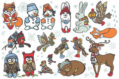 Animales de la Navidad fijados ForestWinter divertido Imagen de archivo libre de regalías