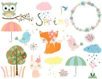 Animales de la primavera y elementos del diseño stock de ilustración