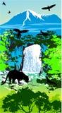 Animales de la selva en la cascada y las montañas Fotografía de archivo