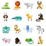 Animales de la selva fijados Imagen de archivo
