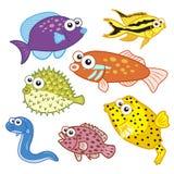 Animales de mar de la historieta fijados con el fondo blanco Foto de archivo