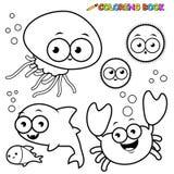 Animales de mar del libro de colorear fijados Fotografía de archivo libre de regalías