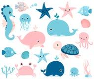 Animales de mar en rosa y azul Imágenes de archivo libres de regalías