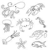 Animales de mar que colorean la página Imágenes de archivo libres de regalías