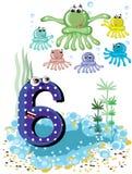 Animales de mar y serie de los números -, 6, pulpos ilustración del vector