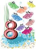 Animales de mar y serie de los números para los cabritos, 8, shelles Foto de archivo libre de regalías