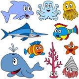 Animales de marina de la historieta fijados [1] Foto de archivo