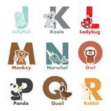 Animales del alfabeto Imágenes de archivo libres de regalías