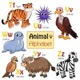 Animales del alfabeto de T a Z Imágenes de archivo libres de regalías
