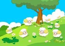 Animales del campo con las ovejas Imagen de archivo libre de regalías