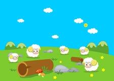 Animales del campo con las ovejas Imágenes de archivo libres de regalías