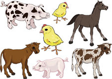 Animales del campo de bebé fijados Imagen de archivo libre de regalías