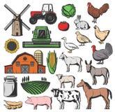 Animales del campo de ganado y cosecha de la agricultura stock de ilustración
