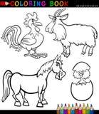 Animales del campo de la historieta para el libro de colorear Imagen de archivo libre de regalías